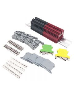 DIN Rail Terminal Blocks Kit Terminal+Ground Blocks+DIN Rail+End Brackets+ MORE