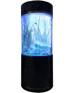 Penn-Plax Large Cylinder Acrylic Aquarium with Built-in Stand and Storage Top (LM1) – FREE SHIPPING